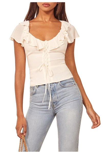 REFORMATION fleur ruffle trim lace-up top in ivory