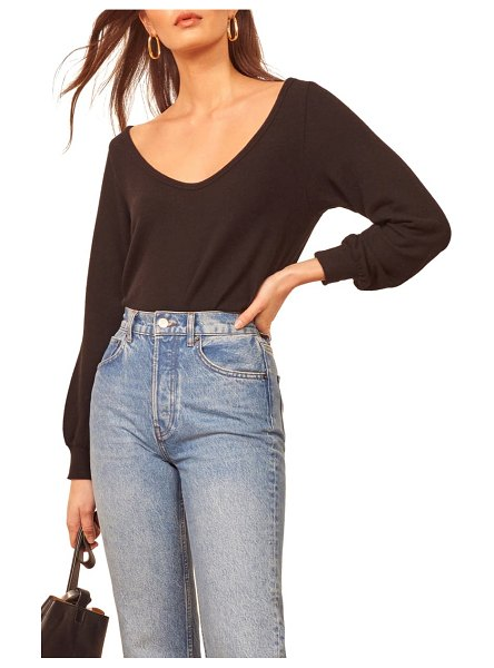 REFORMATION maria relaxed scoop neck top in black