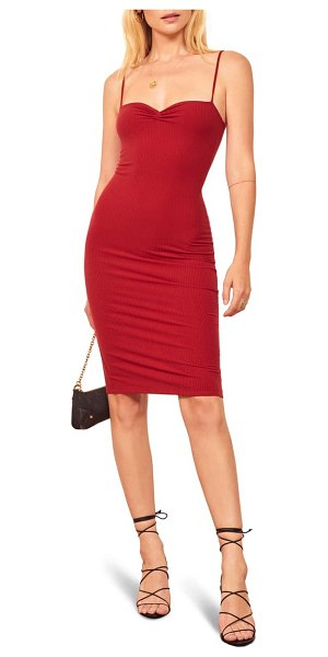 REFORMATION mena ribbed body-con dress in cherry