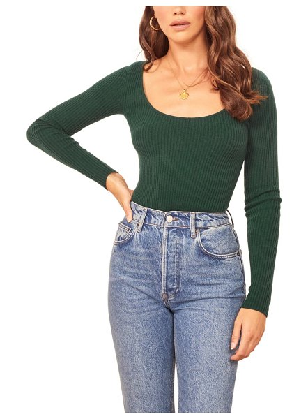 REFORMATION mia cashmere & wool sweater in emerald