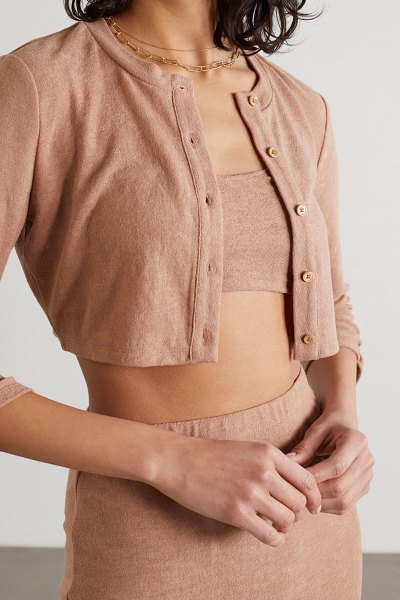 REFORMATION net sustain janice knitted cardigan, camisole and midi skirt set in camel