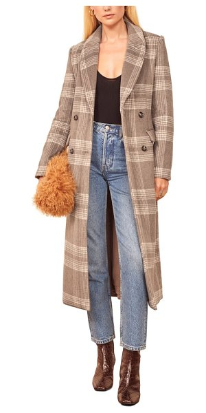 REFORMATION york coat in brown check