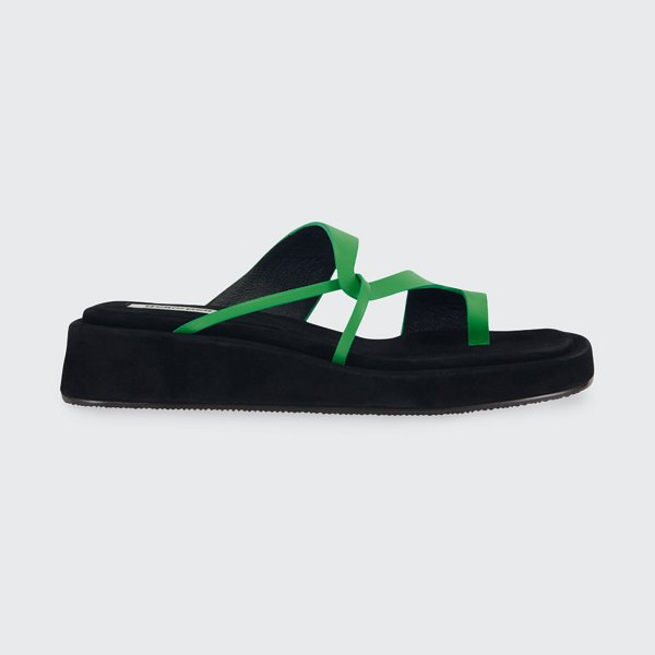 Reike Nen Curved Leather Toe-Ring Slide Sandals in green
