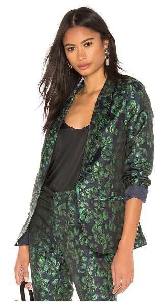 Reiko Blair Blazer in green - 100% poly. Hand wash cold. Padded shoulders. Exposed...