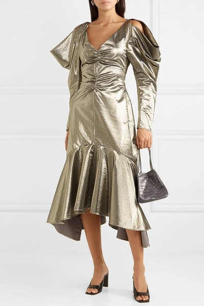 Rejina Pyo camille cutout ruched lamé midi dress in silver