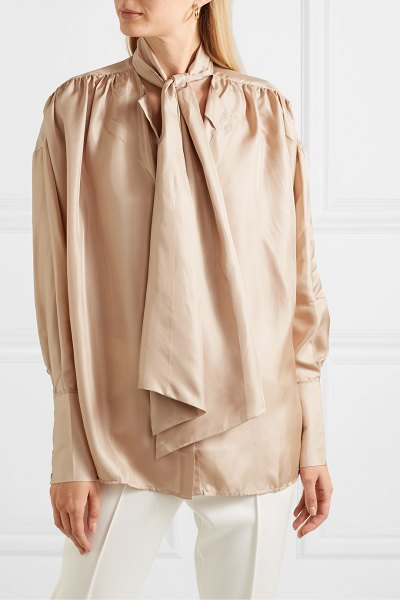 REMAIN Birger Christensen halyn pussy-bow silk-satin blouse in beige