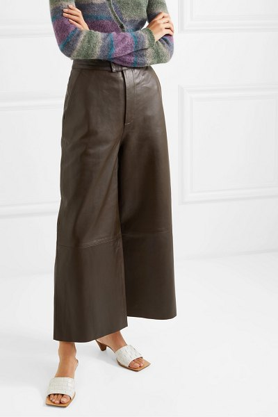 REMAIN Birger Christensen manu cropped leather wide-leg pants in army green