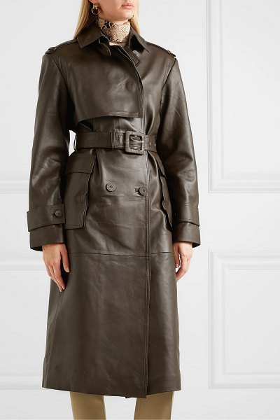 REMAIN Birger Christensen pirello belted leather trench coat in army green
