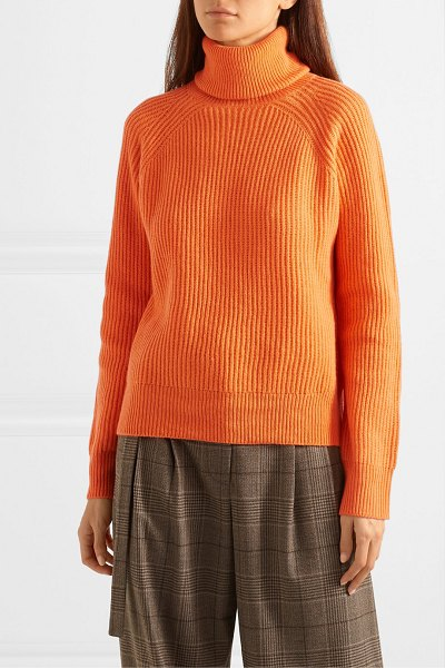 REMAIN Birger Christensen jerome ribbed wool and cashmere-blend turtleneck sweater in orange