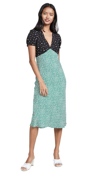 re:named re: named mixed print dress in black/green