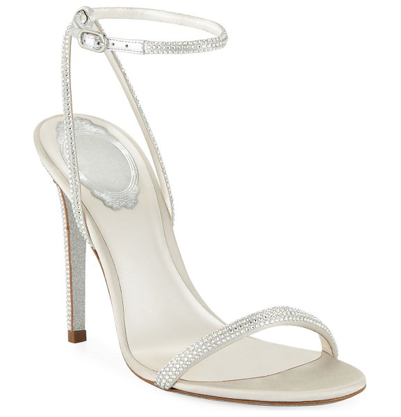 Rene Caovilla Crystal-Embellished Metallic Leather Sandals in silver
