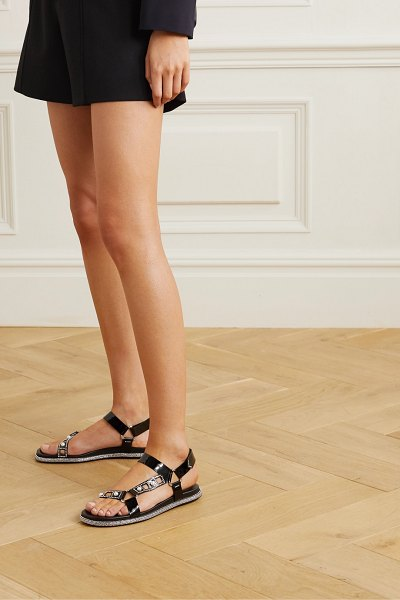 Rene Caovilla embellished patent-leather sandals in black