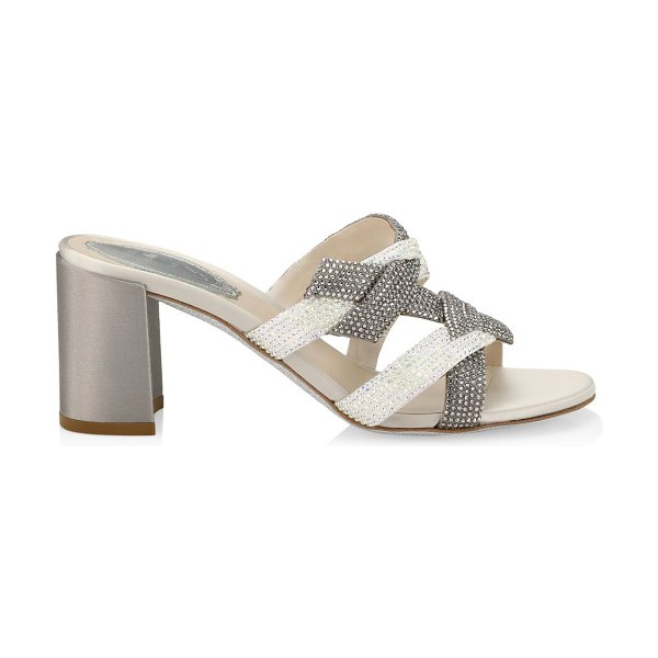 Rene Caovilla satin embellished heeled mules in silver