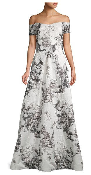 Rene Ruiz Collection Off-The-Shoulder Gown in white black