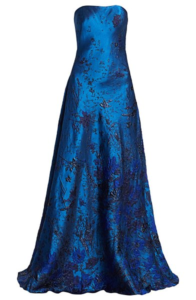 Rene Ruiz Collection strapless brocade ball gown in blue multi