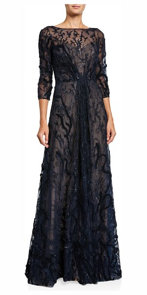Rene Ruiz Embellished Bateau-Neck 3/4-Sleeve A-Line Illusion Gown in navy