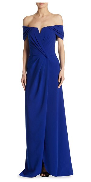 Rene Ruiz grecfian off-the-shoulder drape gown in cobalt - Statement-making gown flaunting pleated details....