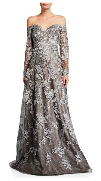 Rene Ruiz Off-the-Shoulder Long-Sleeve Lace Gown in pewter