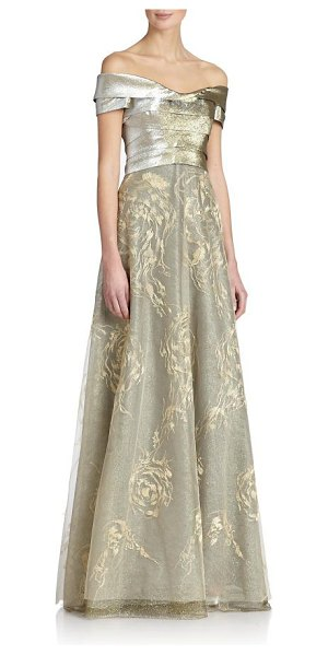 Rene Ruiz Collection tiered tulle off-the-shoulder gown in gold