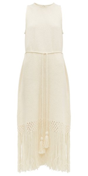 Rhode aaliyah tasselled cotton midi dress in ivory