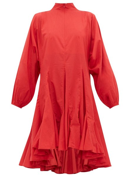 Rhode adeline flounced hem cotton voile dress in red