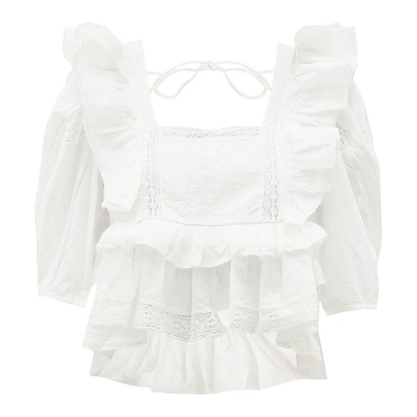 Rhode charlotte lace and ruffle-trimmed cotton blouse in white