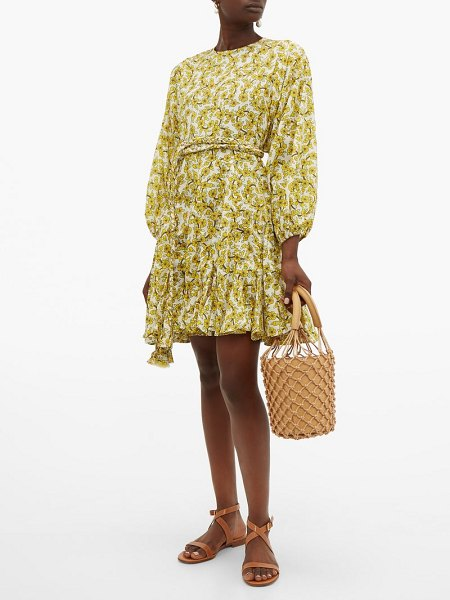Rhode ella floral-print cotton-voile dress in yellow print