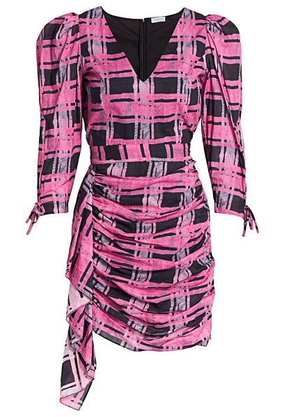 Rhode piper plaid puff shoulder mini dress in pink plaid