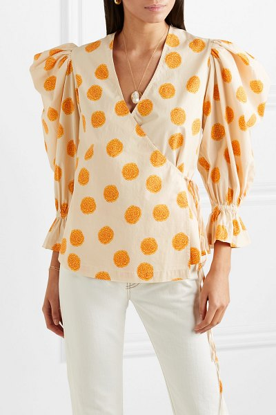 Rhode Resort valentina printed cotton-blend voile wrap top in marigold - Founded by friends Phoebe Vickers and Purna Khatau over...