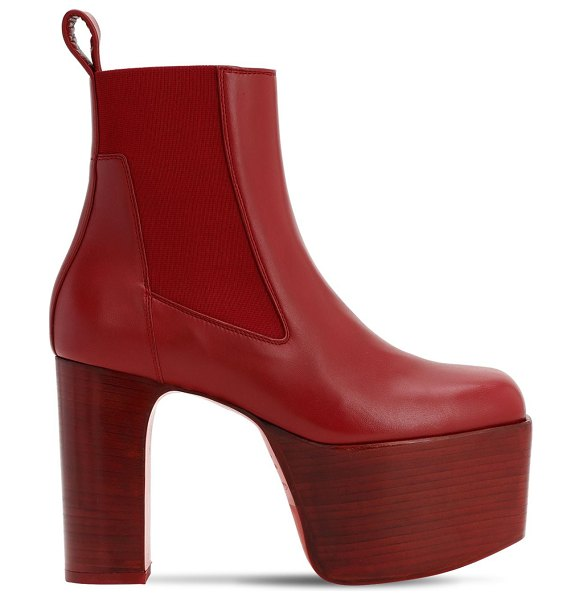 Rick Owens 115mm kiss leather boots w/ elastic in red