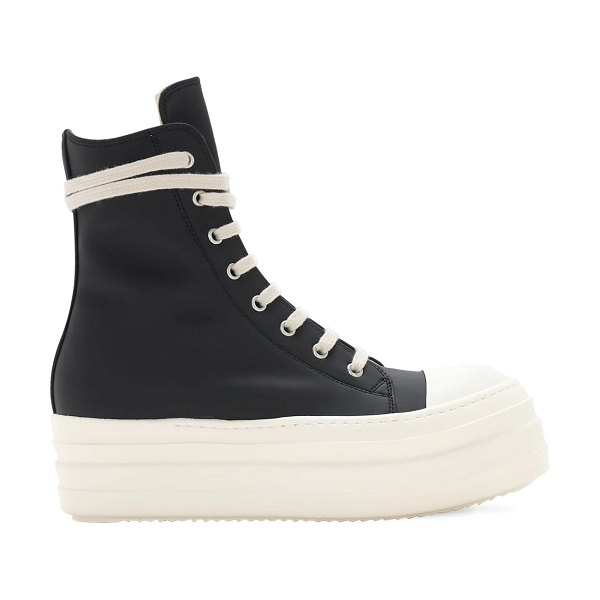 Rick Owens 40mm double bumper high top sneakers in black,white