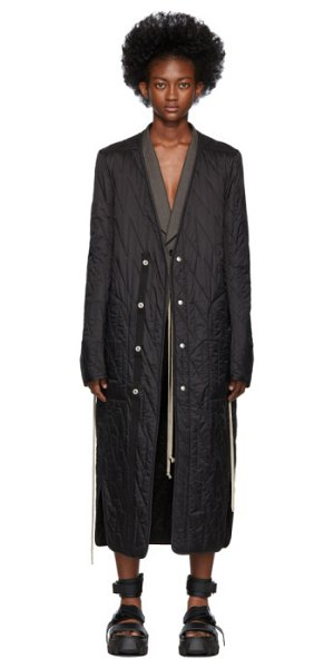 Rick Owens black long quilted liner coat in 09 black