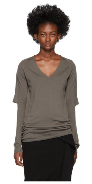 Rick Owens brown zionic v-neck sweater in 34 dust