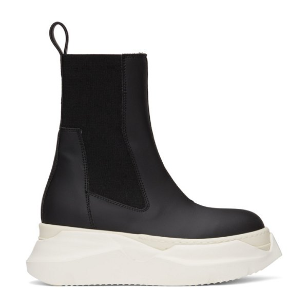Rick Owens DRKSHDW black and off-white abstract beetle boots in 91111 black,milk