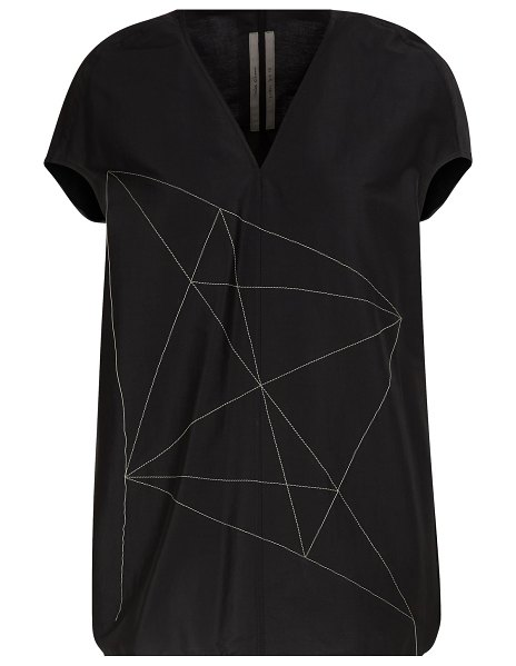 Rick Owens Embroidered linen top in black/pearl