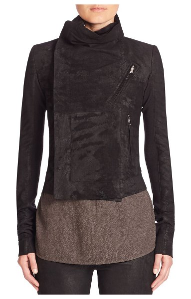 Rick Owens signature cropped leather biker in black