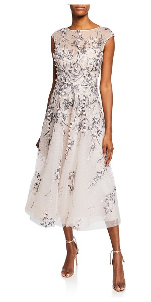 Rickie Freeman for Teri Jon Bateau-Neck Cap-Sleeve 3D Floral Embroidered Tulle Dress in blush