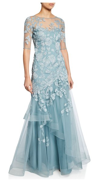 Rickie Freeman for Teri Jon Bateau-Neck Elbow-Sleeve Tulle Gown w/ Lace Applique in light blue