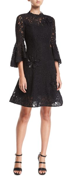 Rickie Freeman for Teri Jon Lace High-Neck Fit-and-Flare Cocktail Dress w/ Appliques in black - Rickie Freeman for Teri Jon lace cocktail dress with...