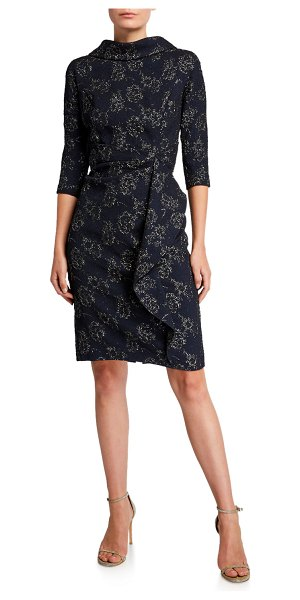 Rickie Freeman for Teri Jon Roll-Neck 3/4-Sleeve Stretch Jacquard Dress with Side Drape in navy