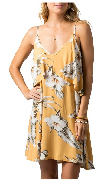 Rip Curl island time floral popover sundress in mustard