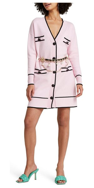 River Island belted long cardigan in pink