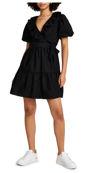 River Island gabrielle puff sleeve faux wrap minidress in black