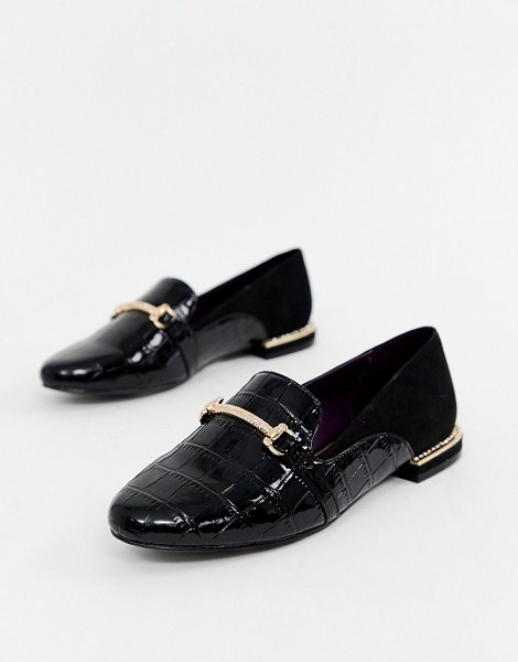 River Island loafers with gold buckle in black in black