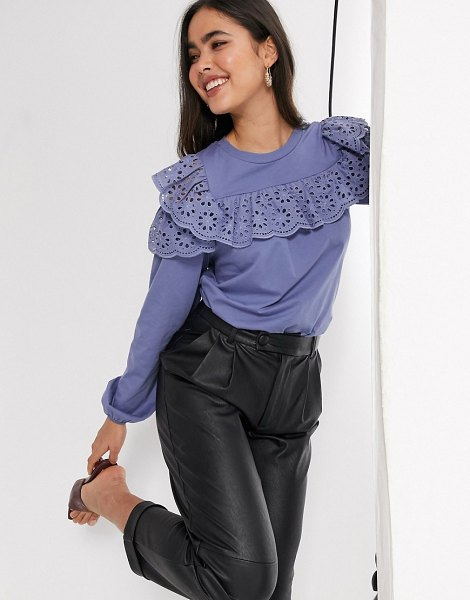 River Island long sleeve cold shoulder broderie frill top in blue in blue