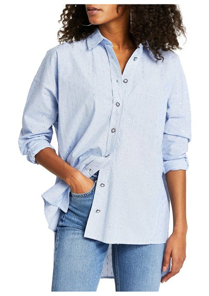 River Island oversize button-up shirt in blue