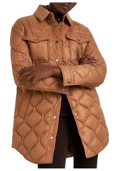 River Island padded long jacket in light brown