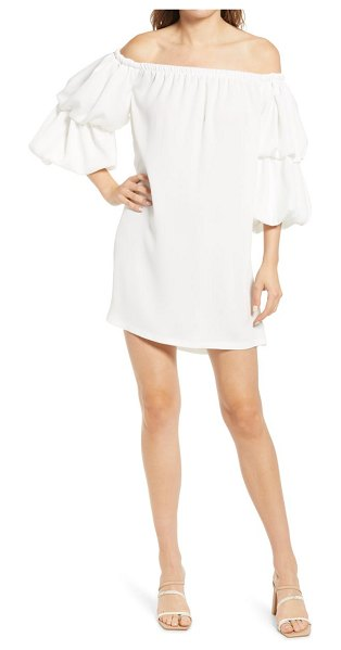 River Island puff sleeve off the shoulder shift dress in white