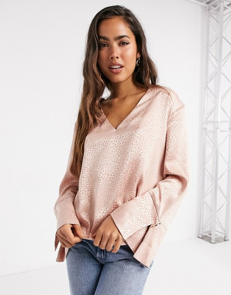 River Island satin relaxed luxe v-neck blouse in pink in pink