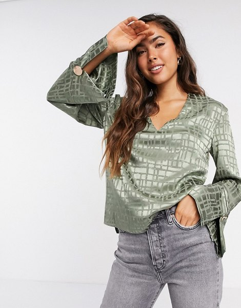 River Island satin relaxed luxe v-neck blouse in sage-green in green